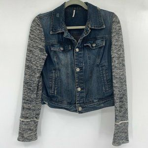 Free People Knit Sleeve Button Front Denim Jacket